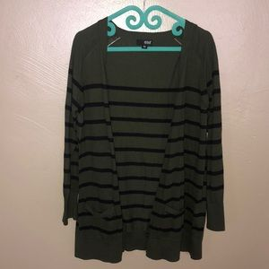 Green and black striped cardigan